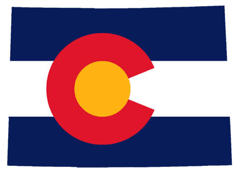This is a graphic depicting the state flag inserted into the shape of Colorado.