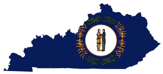 This is a graphic in the shape of Kentucky with its flag inside.