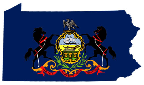 This graphic is an outline of the shape of Pennylvania with a portion of the state flag inside it.