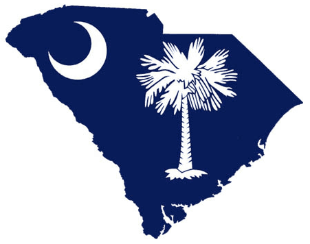 This is a graphic in shape of South Carolina with portions of their flag inside it.