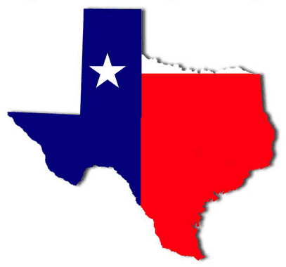 This graphic is in the shape of Texas with the red white and blue lone star state flag inside the outline of the state.