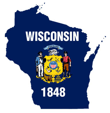This is a graphic of the outline of Wisconsin with the state flag inside.