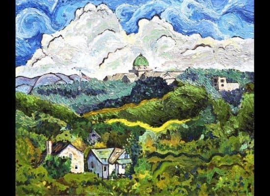 This is a Taylor Crowe landscape painting showing building amidst the trees with blue and clouds in the background.