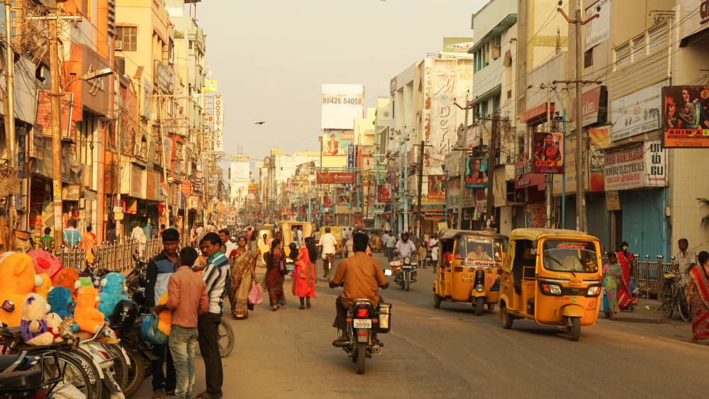 busy and colorful street in India