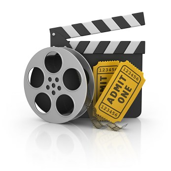 This is a graphic depicting a movie reel, a director's tool for calling for action and 2 tickets for a movie