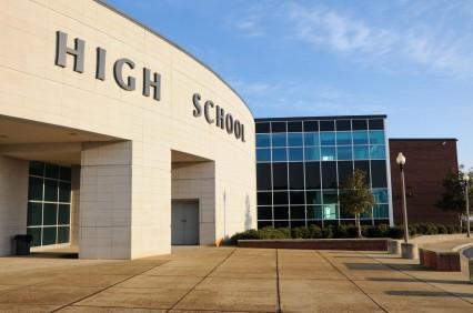 A photograph of a modern high school