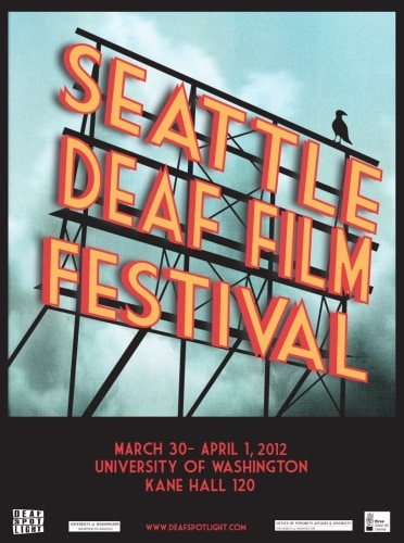 Art of a neon sign saying Seattle Deaf Film Festival