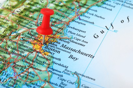 Map of Massachusetts with a red push pin on Boston