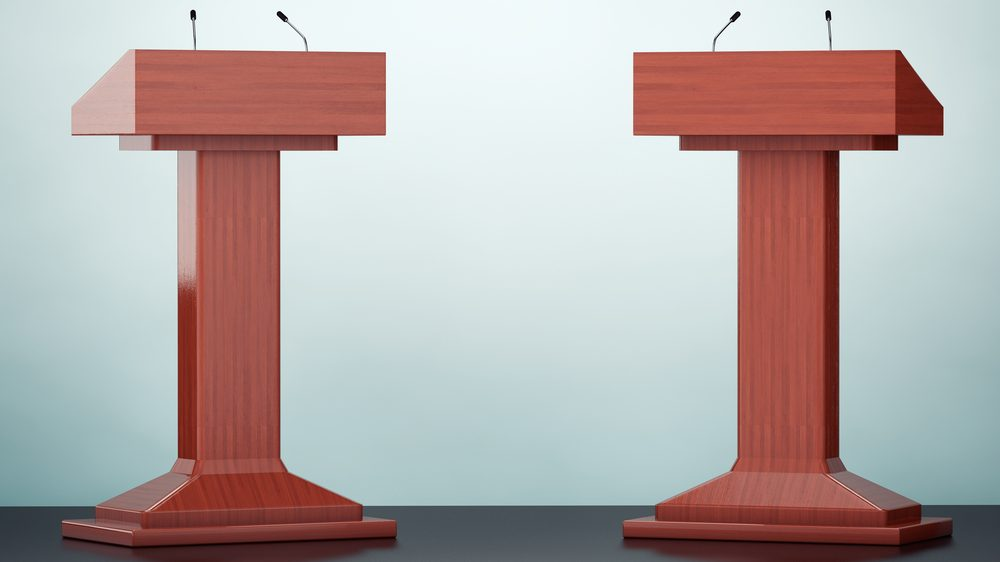 illustration of two podiums with microphones