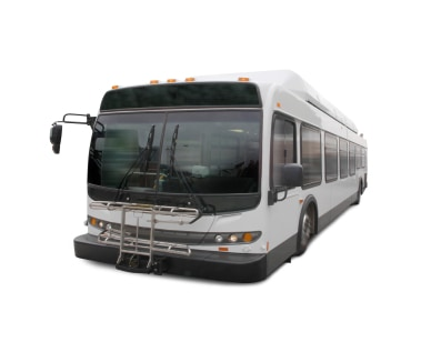 Front view of a white public bus