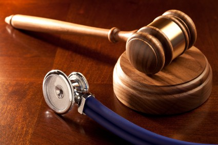 Photo of a gavel and stethoscope