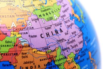 Photo of China on a world globe.