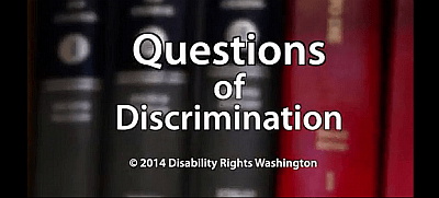 Questions of Discrimination against a background of red and black law books