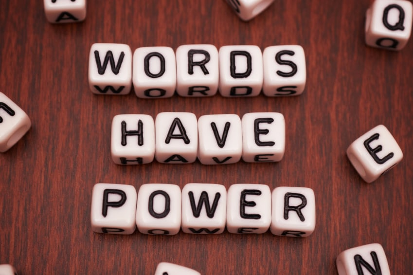 """blocks spell the words """"Words have power"""""""