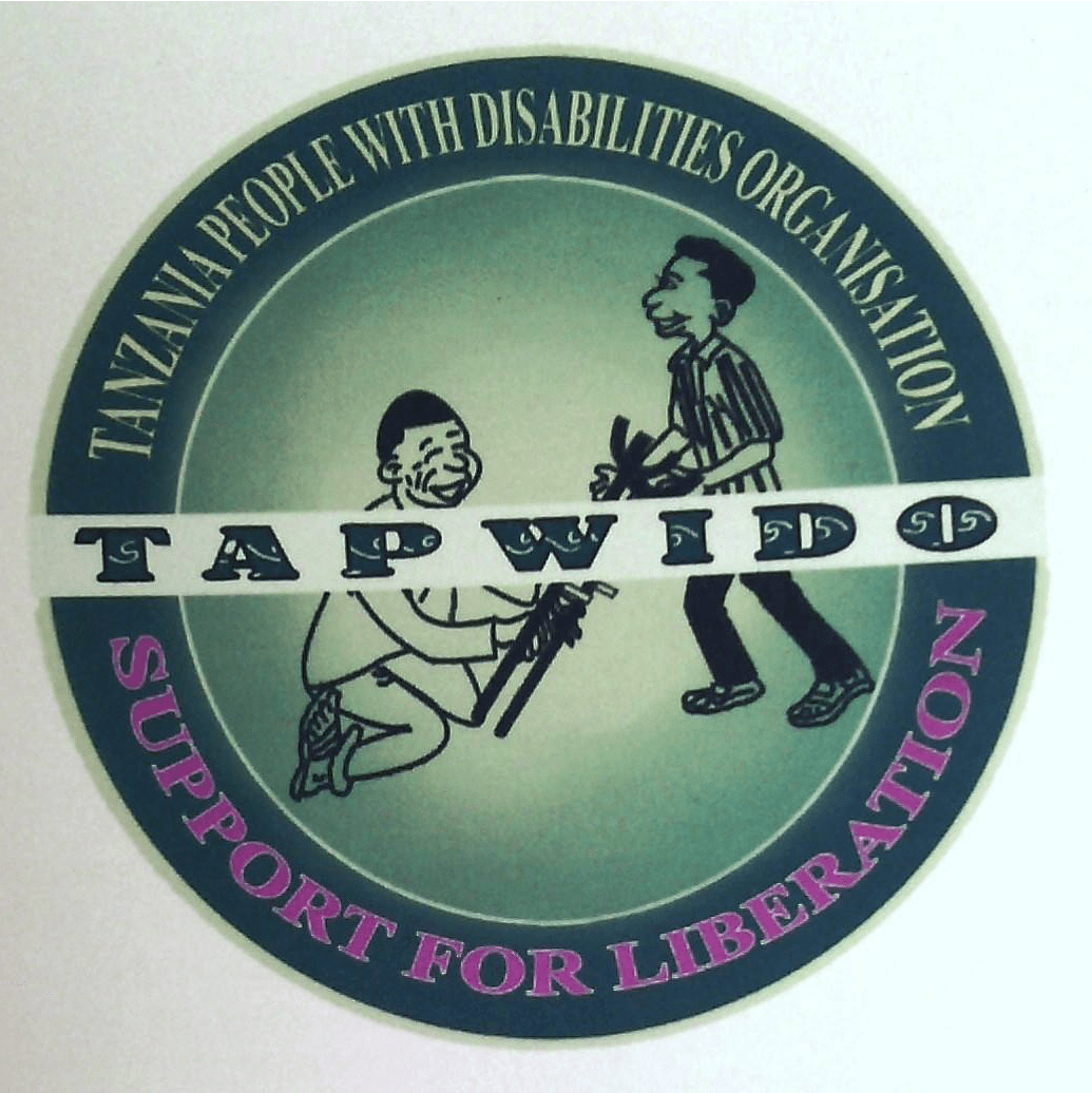 """TAPWIDO LOGO, a man giving crutches to another man, text that reads, """"Support for Liberation"""""""