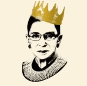 Justice Ruth Bader Ginsberg with a birthday crown