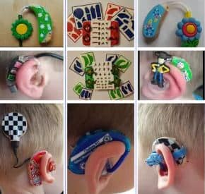 pictures of various hearing devices decorated with colorful stickers