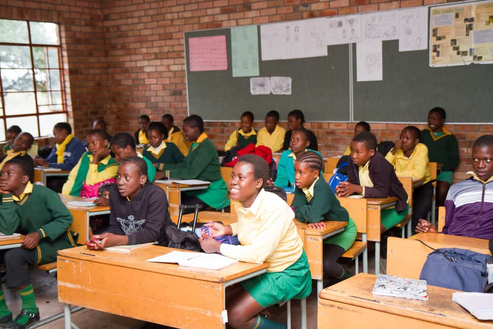 Classroom of kids in South Africa