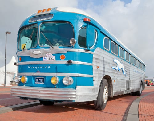A classic-style Greyhound bus