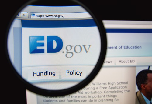 computer screen showing the ED.Gov website