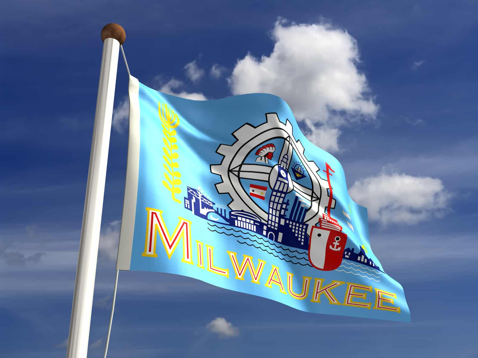 Flag of the city of Milwaukee against a blue sky