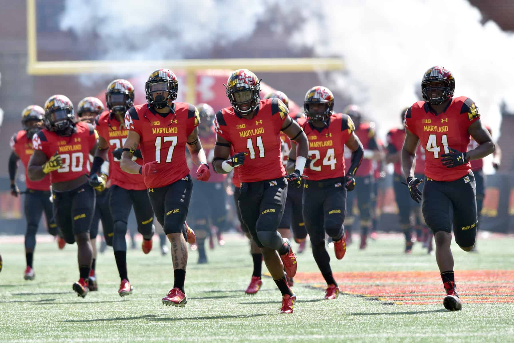 University of Maryland football team running out onto the field
