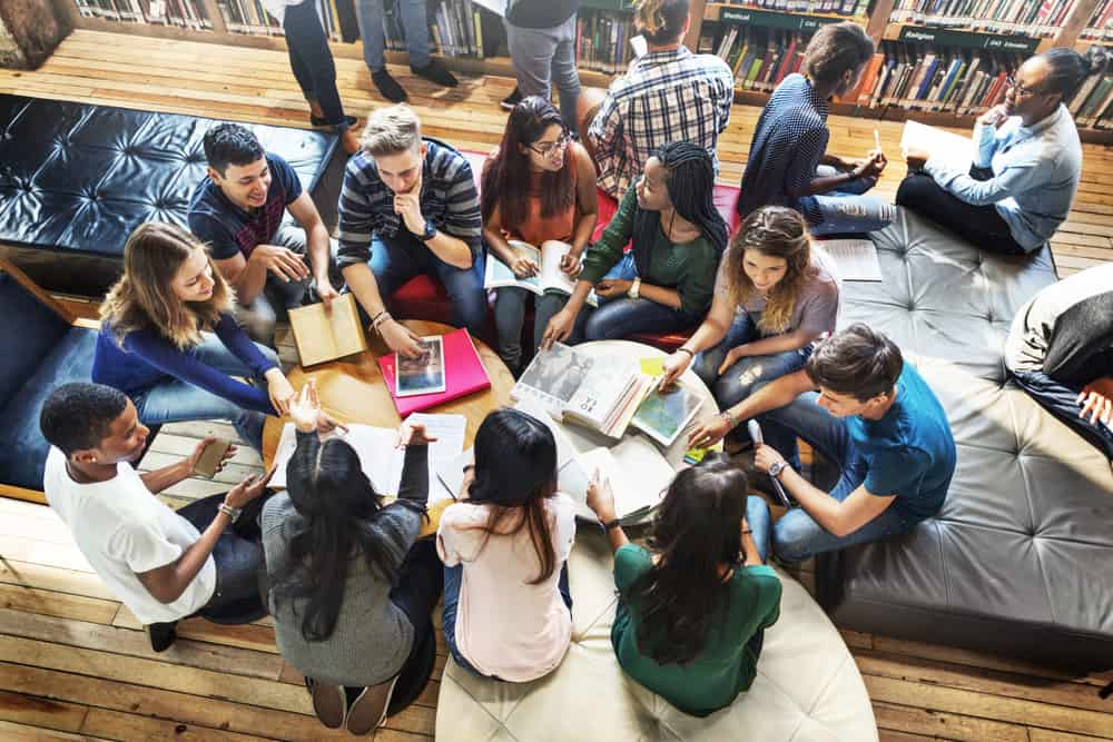 arial view of a group of students in a circle
