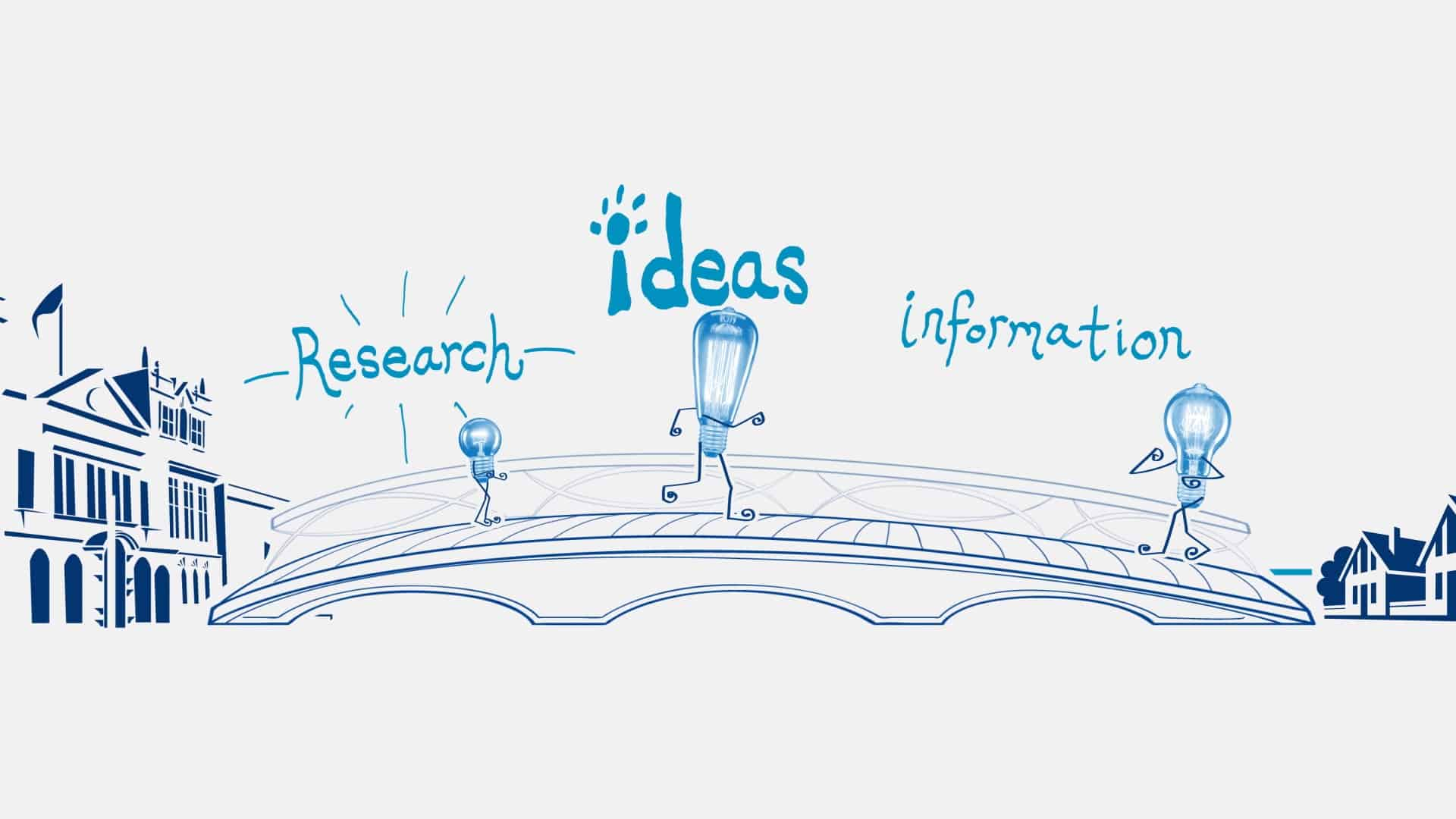 A cartoon of lightbulbs with legs walking along a bridge with the words Ideas, research and information floating above their heads