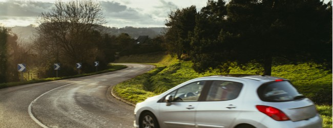 A silver car driving on an open road surrounded by trees, greenery, and a grayish sky.