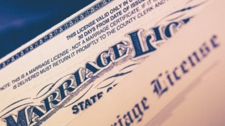 Close-up of the top of a marriage license form