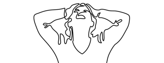 An outline of a woman with her hands on her head, looking up in despair.