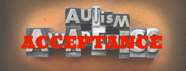 "The words Autism Awareness made from vintage lead letterpress type. Over the word ""awareness"" is the word ""acceptance"" in bold red letters."