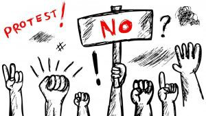 """Black and white drawing of hands raised up in different protest gestures. One holds a sign that says """"no"""" in bold red letters."""