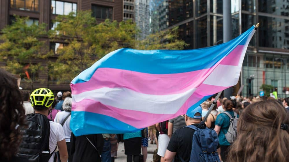 A photo of a group of people at a march holding up a trans pride flag.