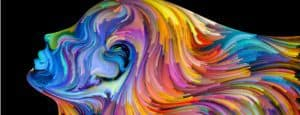 A profile of a person in a surrealist, rainbow-colored painting