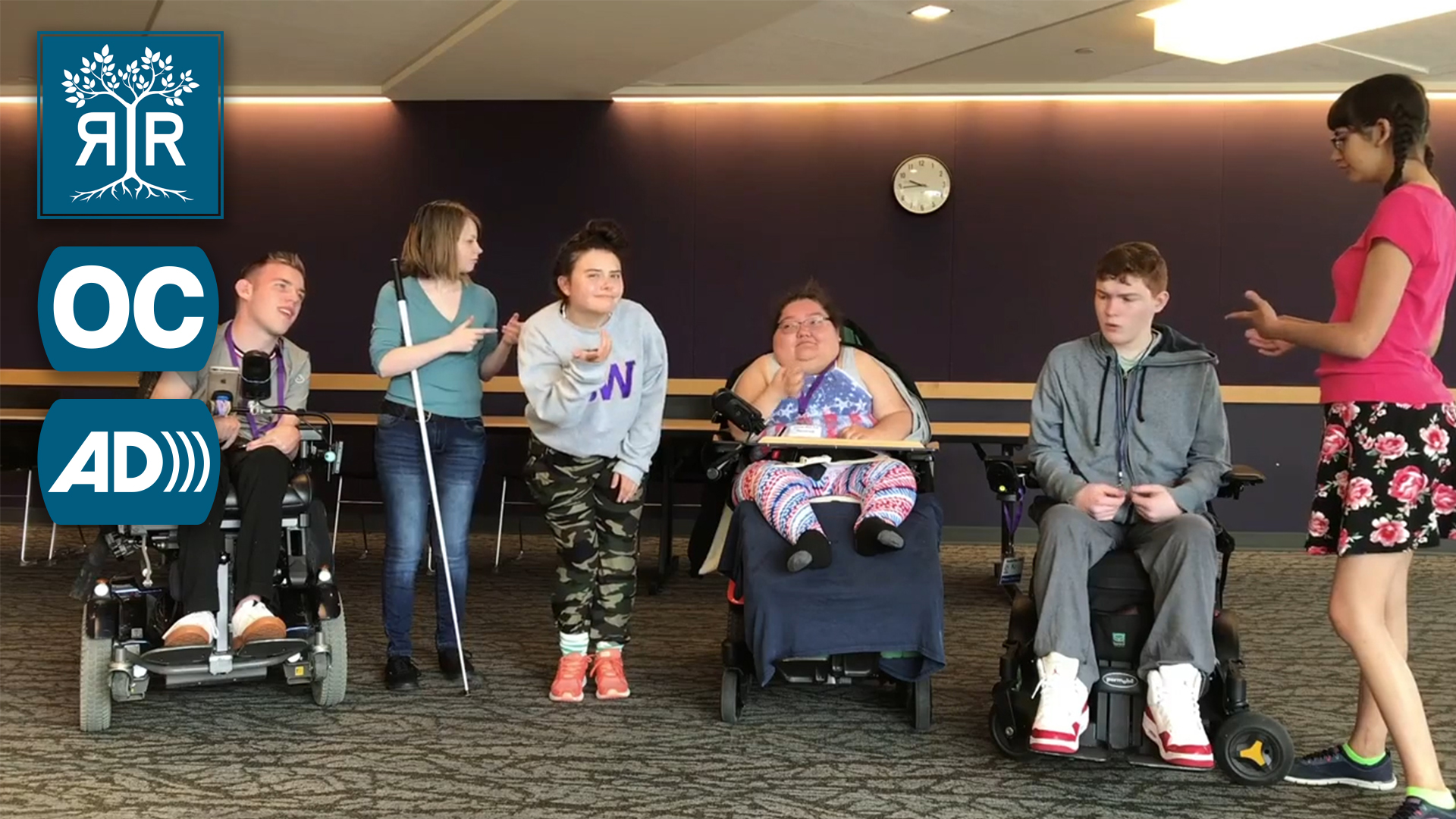 A row of students with mixed disabilities looking looking confused and shrugging their shoulders.