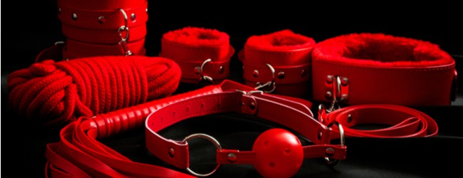 Red leather BDSM accessories including ball gag, cuffs, rope, flogger, collar and leash.