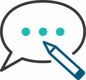 Blog Icon with pencil and speech Balloon