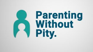 "Blue text ""Parenting Without Pity."" on white background, next to teal logo of parent holding child."