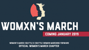 """Womxn's March Seattle logo with Text,""""Coming January 2019"""""""