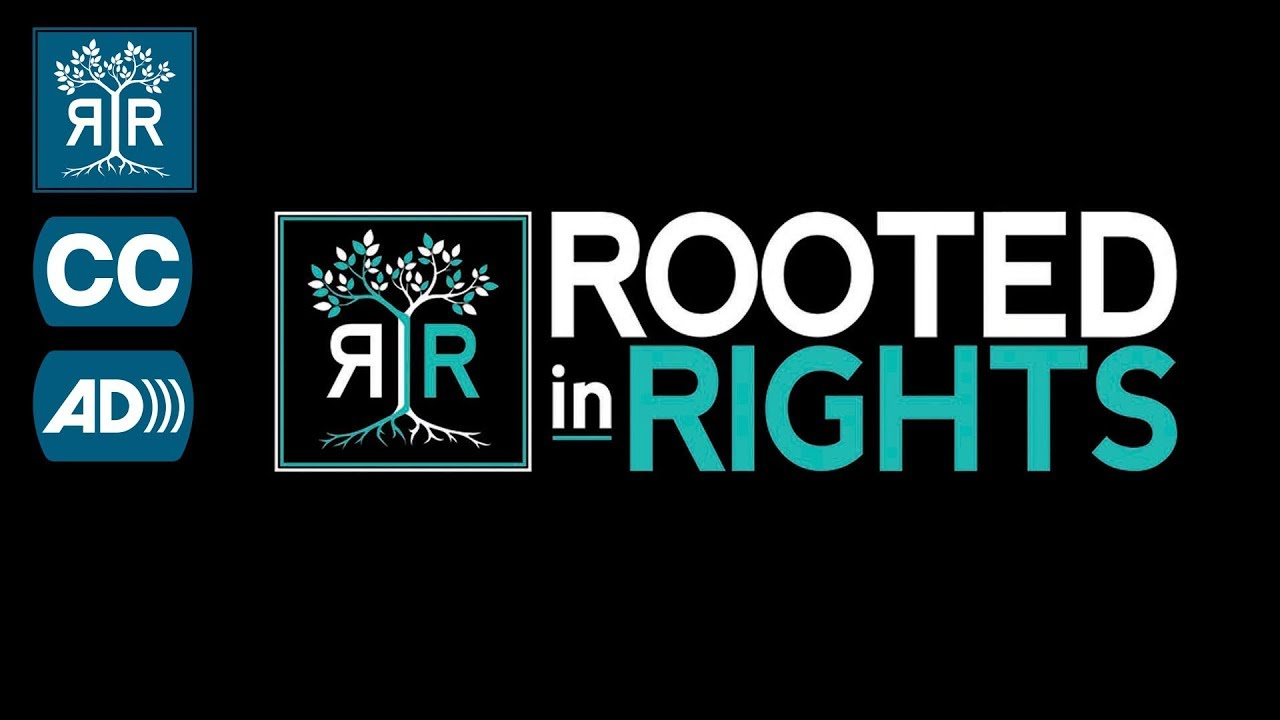 Rooted in Rights logo with interlocking trees in white and teal on black background