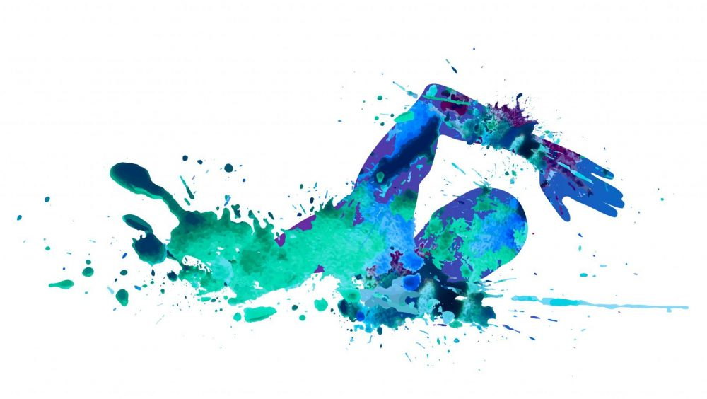 artistic splatter illustration of a person swimming