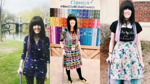 """Three photos left to right: Alaina, a thin, young white cane user, standing in the Boston Public Garden with her lavender cane. She is wearing a dark blue romper with umbrellas on it and she has dark brown and purple hair. The second is Alaina standing outside with her lavender cane. She is wearing a colorful Zodiac skirt and a shirt that says """"The Future Is Accessible."""" The third is Alaina at BookCon with her lavender cane. She is wearing a rainbow dress with books all over it."""