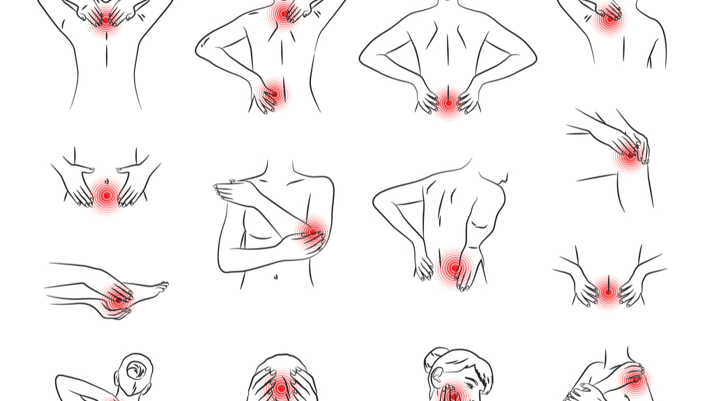 A chart with drawings of different body parts highlighted with red circles to indicate pain.