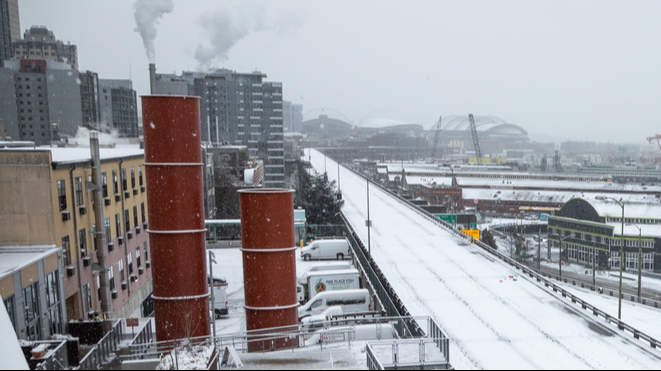 A snow covered Seattle Waterfront