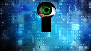 Blue background with computer data. In the middle is a keyhole with a green eye staring directly through.