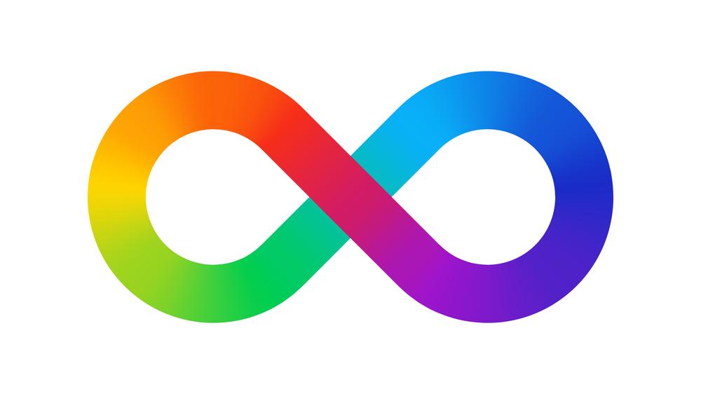 Rainbow infinity symbol of neurodiversity