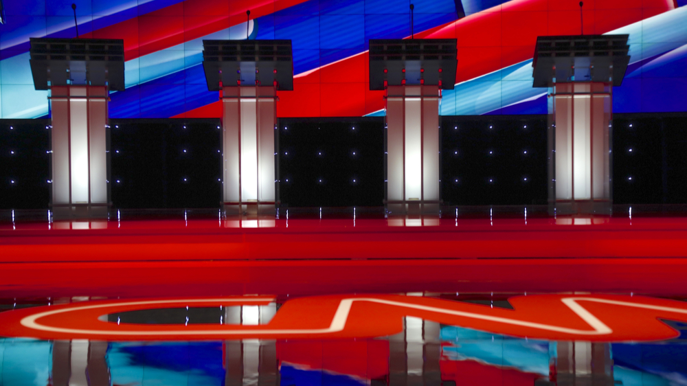 Photo of Presidential debate stage with four empty podiums