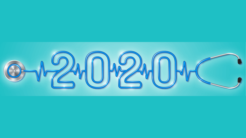 A stethoscope with text that reads 2020 in the middle, surrounded by vital sign lines