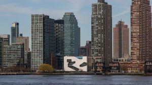 Photo of NYC skyline with Hunters Point Library in the center